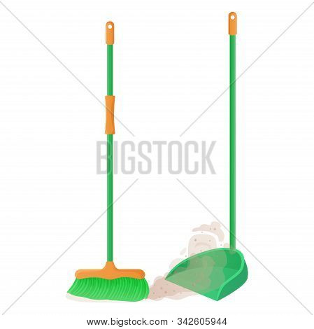 Cartoon Plastic Broom And Scoop Set. Broom Sweeps Dust And Dirt. Housework, Cleaning Services, House