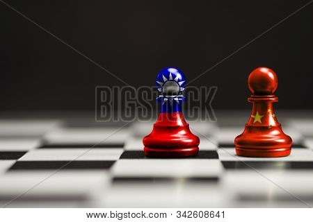 China And Taiwan Flag Print Screen On Pawn Chess With Black Background. Now Both Countries Have Econ