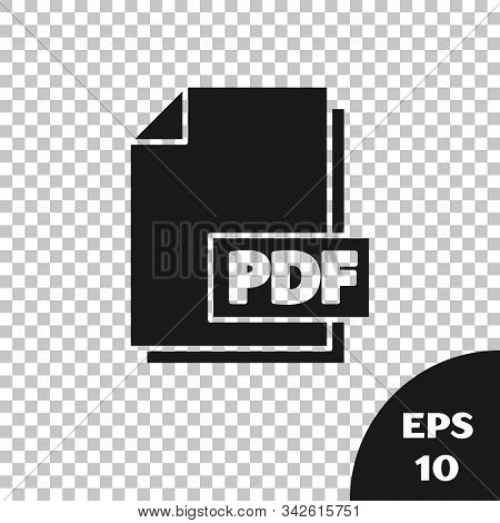 Black Pdf File Document. Download Pdf Button Icon Isolated On Transparent Background. Pdf File Symbo