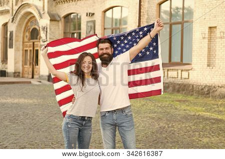 Our National Identity Is American. American Citizens Celebrating National Sovereignty. Bearded Man A