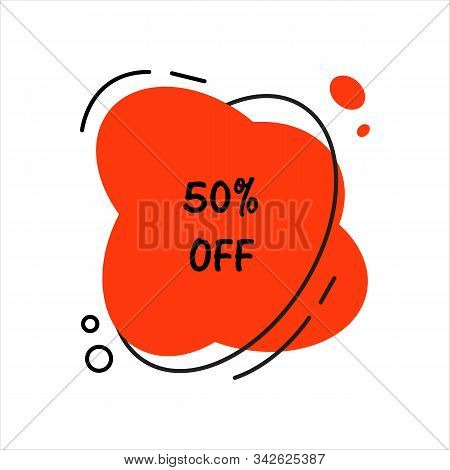 Hot Sale Fifty Percent Off. Flat Vector Geometrical Vintage Warm Color Banner. Texting Box Promotion