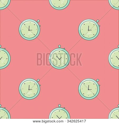 Stopwatch Fast Time Rush Hour Concept. Vector Illustration Seamless Pattern