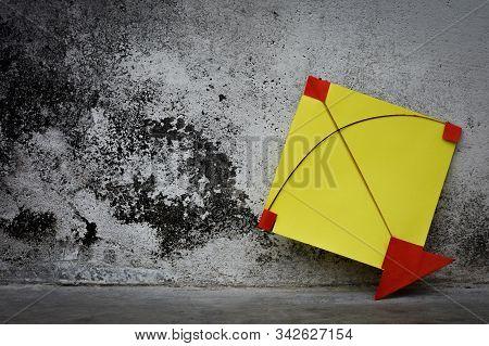 Yellow Paper Kite, Makar Sankranti Festival Concept