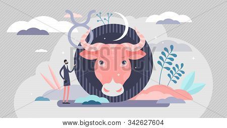 Taurus Vector Illustration. Astrology Sign In Flat Tiny Persons Concept. Bull Horoscope Symbol With