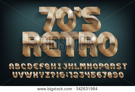Retro 70s alphabet font. 3D golden letters and numbers. Stock vector typescript for your design. poster