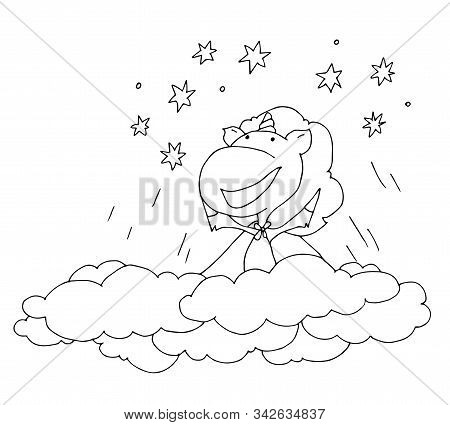 Coloring Book For Kids - Unicorn Flies Through The Clouds To The Stars. Through Hardship To The Star