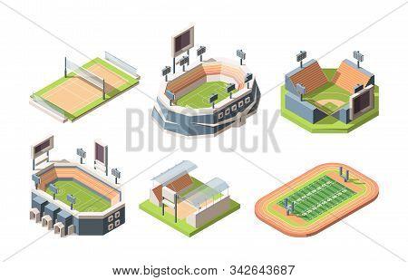 Sports Fields, Stadiums Vector Isometric Illustrations Set