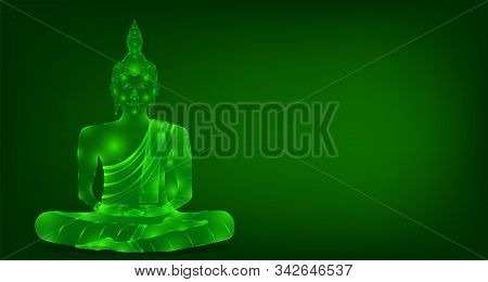 Luxury Green Emerald Crystal Monk Phra Buddha Sitting For Pray Concentration Composed Release. Color