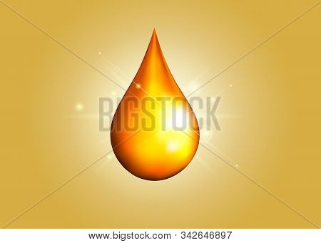 Oil Drop Isolated On White Background. Cosmetic Spa Serum  Bubble Of Vitamin E Or Argan Oil. Vector