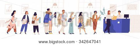 Shopping In Store Flat Vector Illustration. Sale, Discount, Special Offer Concept. Seller And People