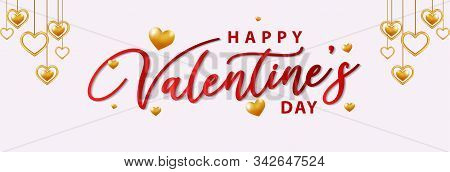 Happy Valentines Day Elegant Red Lettering Banner. Valentine Day. Valentines Day Flyer. Realistic He