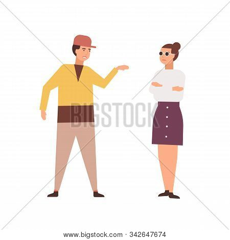 Arguing Couple Flat Vector Illustration. Family Conflict, Quarrel, Negative Emotions Concept. Misund