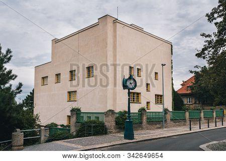 Prague, Czech Republic - August 17 2019: Exterior Of Villa Mueller Functionalist Residential House B