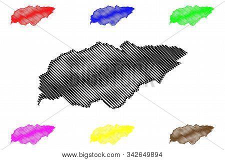 Treinta Y Tres Department (departments Of Uruguay, Oriental Republic Of Uruguay) Map Vector Illustra