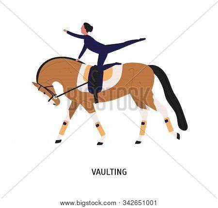 Vaulting, Horse Riding Tricks Flat Vector Illustration. Female Gymnast Cartoon Character. Acrobatic