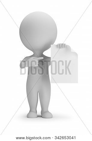 3d Small Person Indicates A Blank Sheet. 3d Image. White Background.
