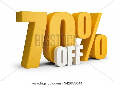 70 Percent Off. 3d Generated Image. White Background.