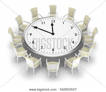 Clock-table And Chairs Around It. 3d Image. White Background.