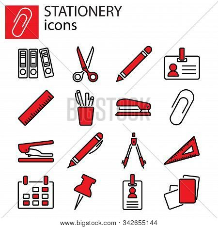 Web Icons Set. Stationery, Office Stuff Vector