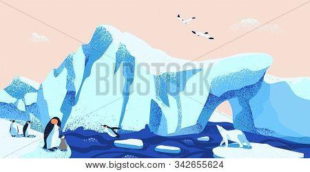 North Pole, Arctic Ice Landscape Flat Vector Illustration. Beautiful Antarctic Scenery With Local Fa