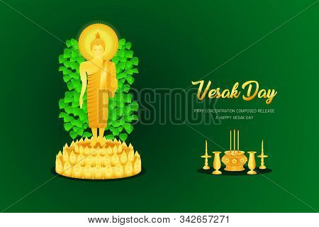 Vesak Day Buddha Monk Phra Stand On 3 Three Floor Incense Candle Vase Base Front - Back View Pray Co