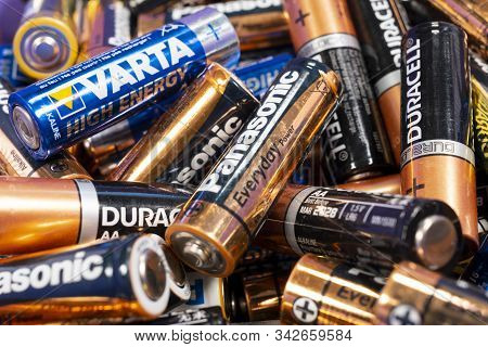 Sofia, Bulgaria - 11 August 2019: Multiple Used Aa Alkaline Batteries Are Seen In A Pile. Toshiba, P