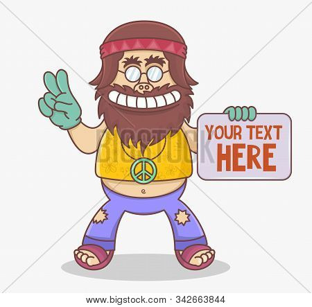 Funny Cartoon Hippie Character Holds A Sign. Man Hippie With Long Brown Hair And Mustache In Flared