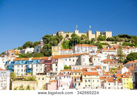 Portugal, Panoramic View Of Lisbon In Summer, Lisbon Fortress Hill сlose-up, Touristic Centre Of Lis