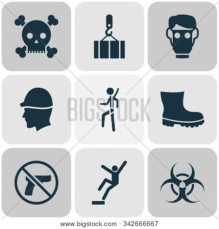 Protection Icons Set With Downfall, Forbidden, Overhead Crane And Other Footwear Elements. Isolated