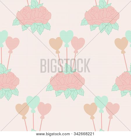 Roses And Hart Balloons In A Seamless Pattern Design