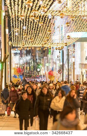 Andorra La Vella, Andorra : 2019 December 30 : People Walk In The Comercial Street Named Carlemany I