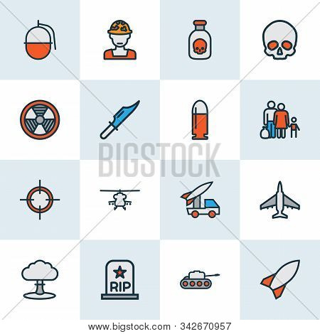 Combat Icons Colored Line Set With Military Knife, Military Helicopter, Skull And Other Panzer Eleme