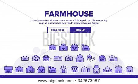Farmhouse Landing Web Page Header Banner Template Vector. Barn, Farmhouse And Farm Building, Storage