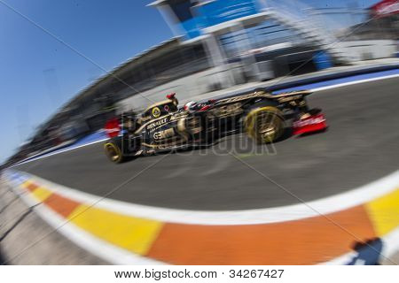 VALENCIA, SPAIN - JUNE 23: Kimi Raikkonen in the Formula 1 Grand Prix of Europe, Valencia Street Circuit. Spain on June 23, 2012