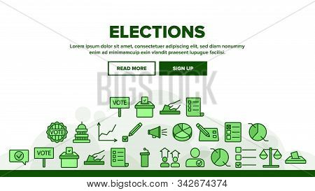 Voting And Elections Landing Web Page Header Banner Template Vector. Including Ballot Voiting Box, V