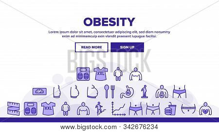 Obesity And Overweight Landing Web Page Header Banner Template Vector. Obesity Person And Xxl T-shir
