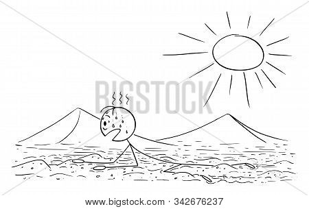 Vector Cartoon Stick Figure Drawing Conceptual Illustration Of Man, Tourist Or Traveler Creeping Or
