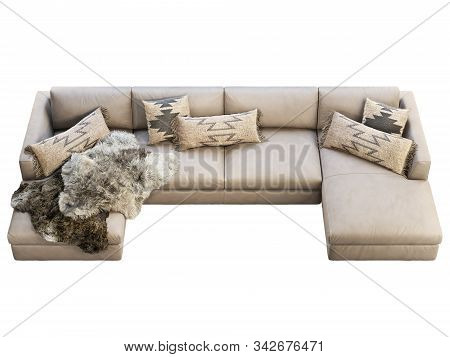Chalet three-seat fabric sofa with chaise lounge. Velvet upholstery corner sofa with pillows, plaids and pelts on white background. Mid-century, Loft, Chalet, Scandinavian interior. 3d render poster
