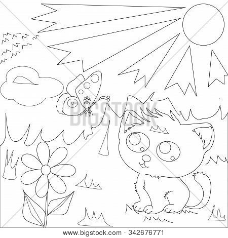 Coloring Page Outline Of Cartoon Cute Cat With Butterfly. Vector Illustration, Coloring Book For Kid