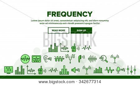 Frequency Pulse Wave Landing Web Page Header Banner Template Vector. Microphone And Ear, Radio And D