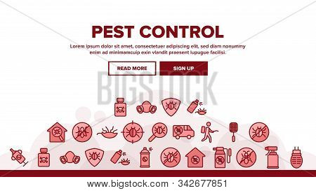Pest Control Service Landing Web Page Header Banner Template Vector. Insects Exterminator And Protec