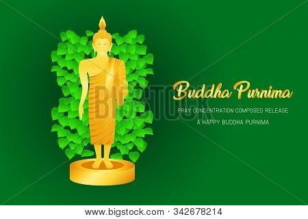 Buddha Purnima Monk Phra Pray Concentration Composed Release Front Of Pho Leaf Religion Culture Fait