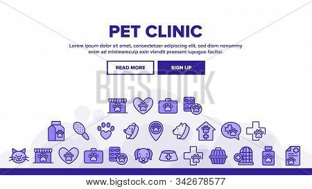 Pet Clinic Veterinary Landing Web Page Header Banner Template Vector. Dog Paw On Heart And Medical C