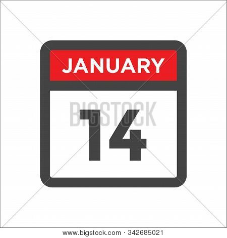 January 14 Calendar Icon W Day Of Month