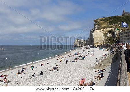 Nice View Of Etretat With Tourists In France