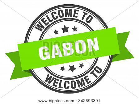 Gabon Stamp. Welcome To Gabon Green Sign