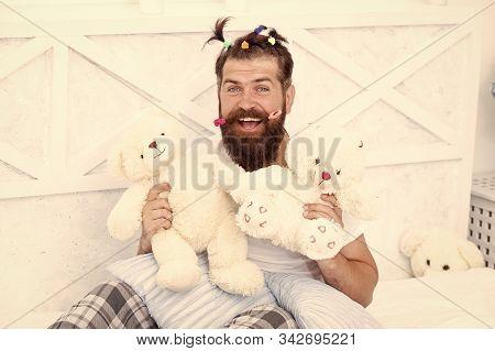 Slumber Party. Guy Relaxing In Bedroom. Pajamas Style. Man In Pajamas At Home. Having Fun Pajamas Pa