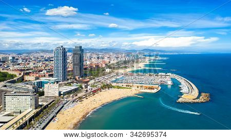 Barcelona, Spain Aerial Panorama Somorrostro Beach, View Central District Cityscape Outdoor Cataloni