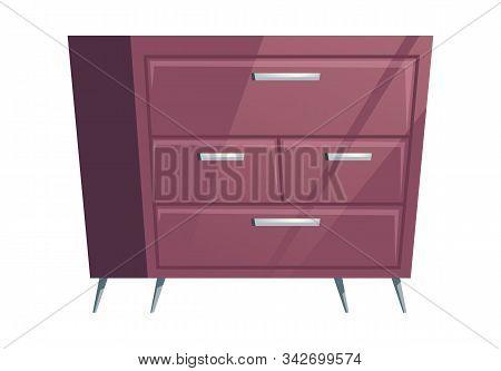 Bedroom Furniture Dresser Cartoon Vector Illustration. Elements For Home Living Room Or Office Inter