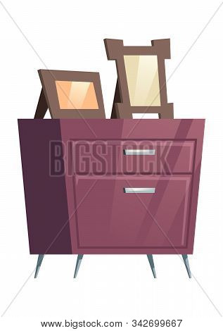 Bedroom Furniture Night Table, Chest Of Drawers With Photo Frames Cartoon Vector Illustration. Eleme